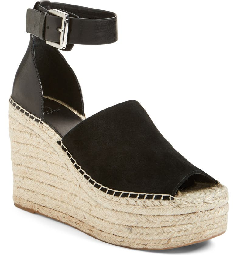 MARC FISHER LTD Adalyn Espadrille Wedge Sandal, Main, color, BLACK SUEDE