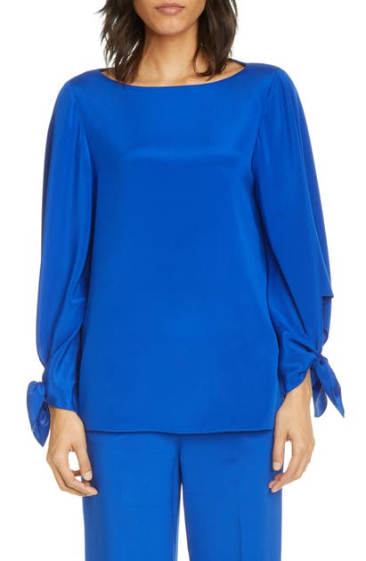 St. John STRETCH SILK CREPE DE CHINE TOP