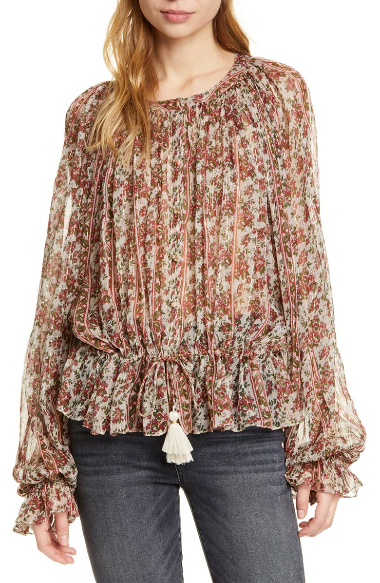 MES DEMOISELLES Florist Metallic Detail Blouse, Main, color, 200
