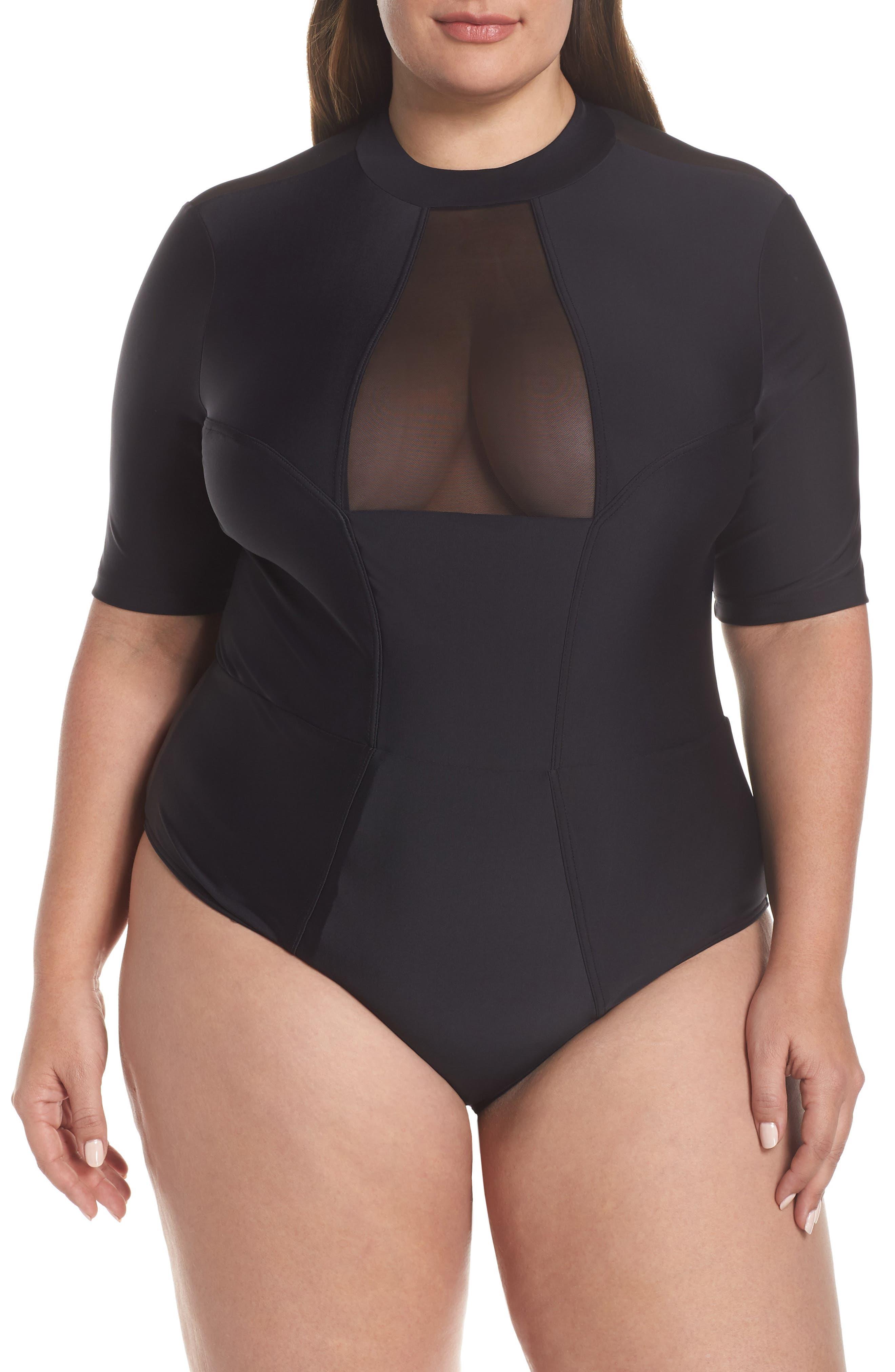 Plus Size Chromat Tidal Ii Ilusion Detail One-Piece Swimsuit, Black