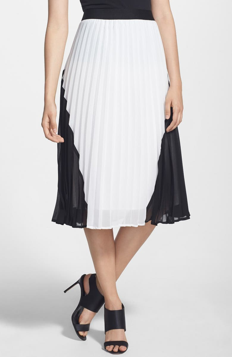 CHELSEA28 Colorblock Pleated Skirt, Main, color, 100