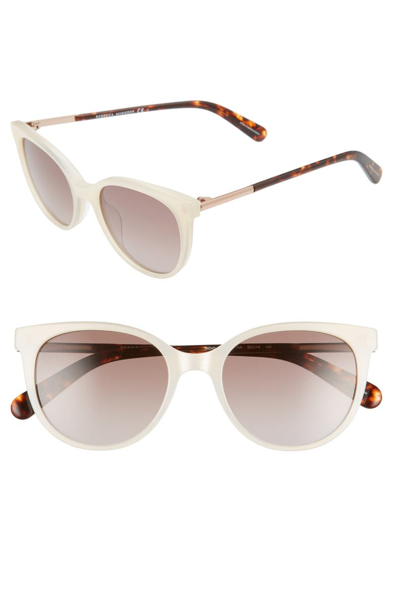 REBECCA MINKOFF Rebeccca Minkoff Indio 52mm Gradient Cat Eye Sunglasses, Main, color, WHITE PEAR/ BROWN