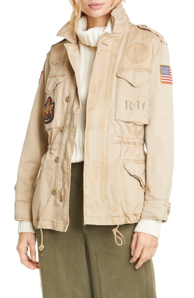 POLO RALPH LAUREN Military Patch Jacket, Main, color, BARRACKS TAN