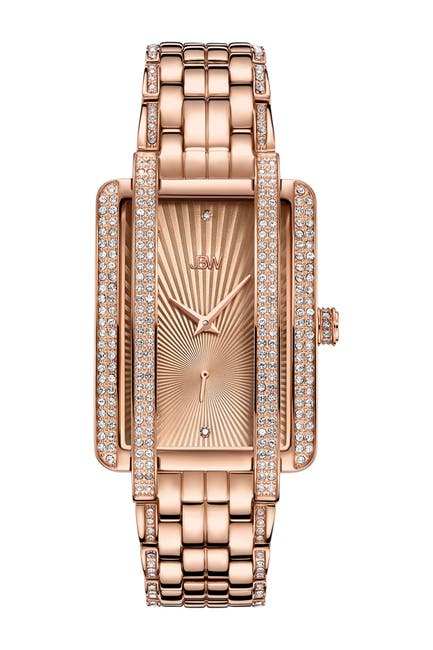 Image of JBW Women's Mink 18K Rose Gold Plated Stainless Steel Diamond Watch, 28mm - 0.12 ctw