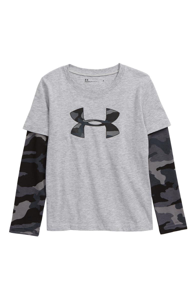 UNDER ARMOUR Bandit Camo Layered Sleeve T-Shirt, Main, color, MOD GRAY HEATHER
