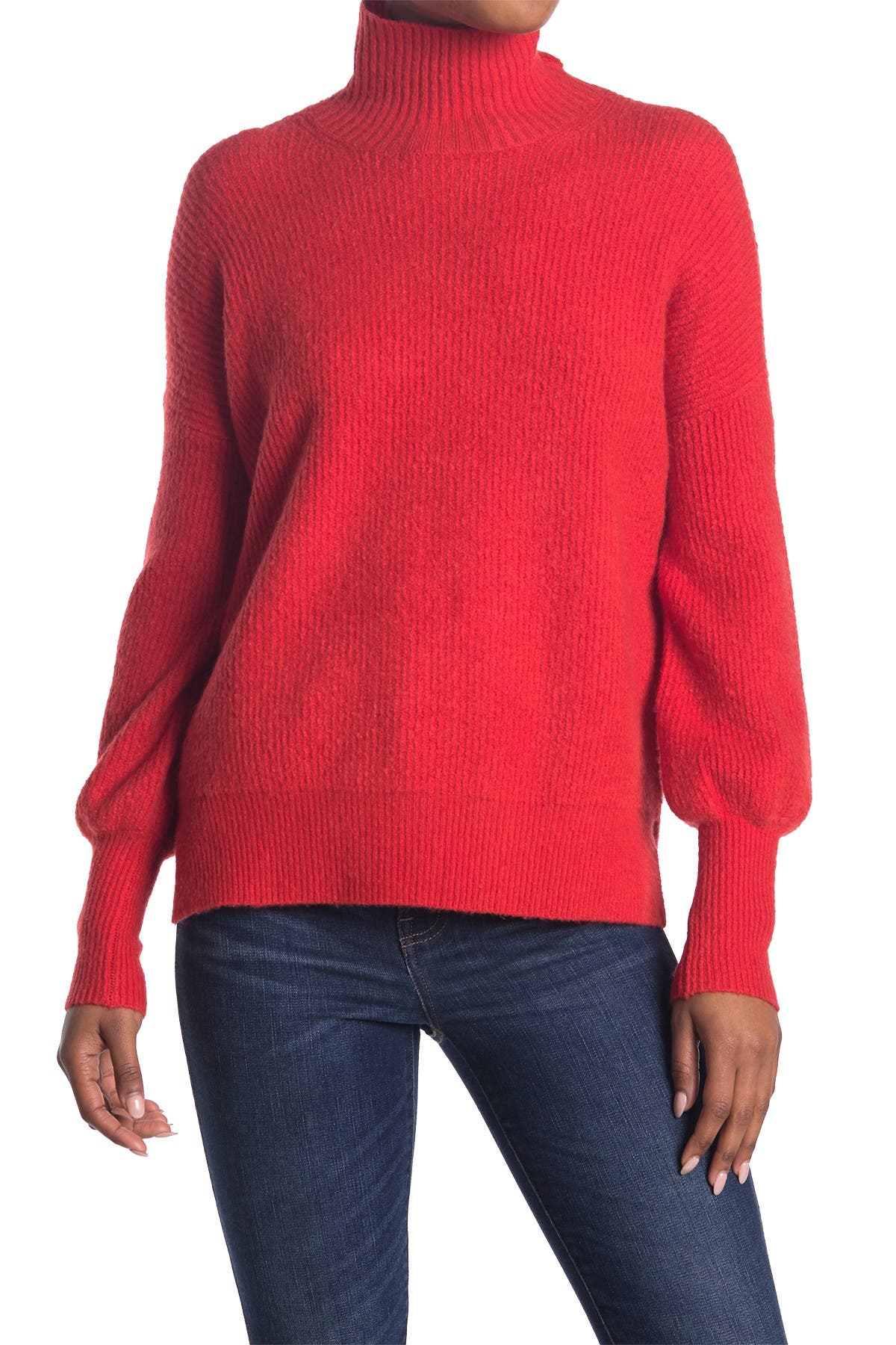 Image of French Connection Orla Ribbed Balloon Sleeve Sweater