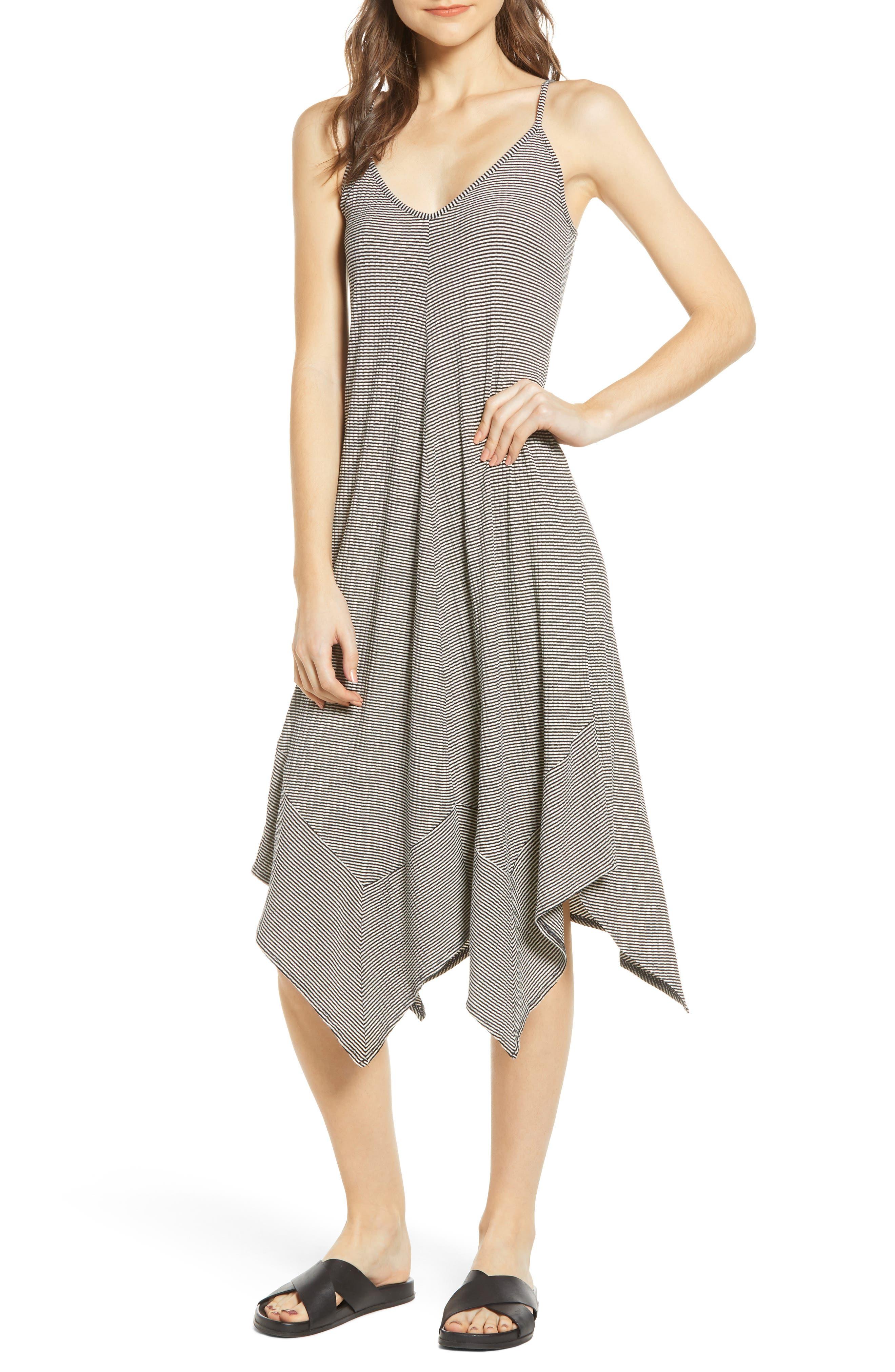 Lira Clothing Jade Handkerchief Hem Midi Dress, Black