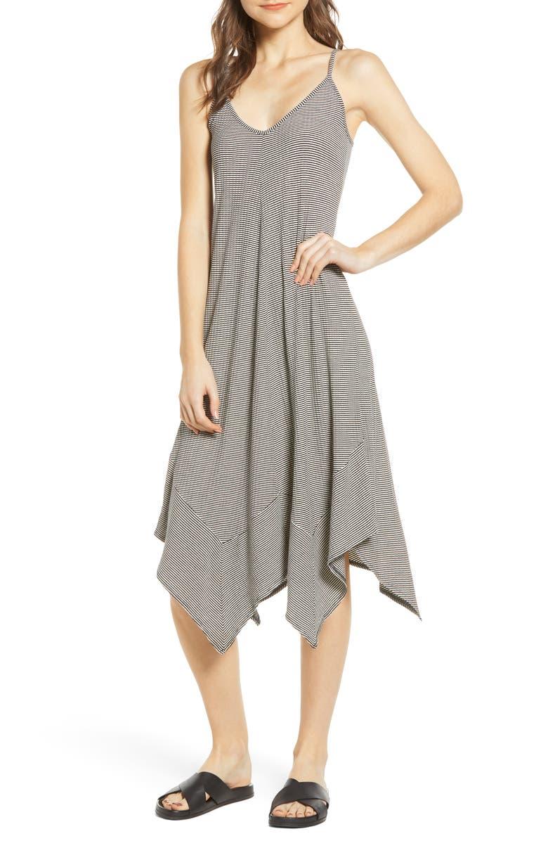 LIRA CLOTHING Jade Handkerchief Hem Midi Dress, Main, color, 001