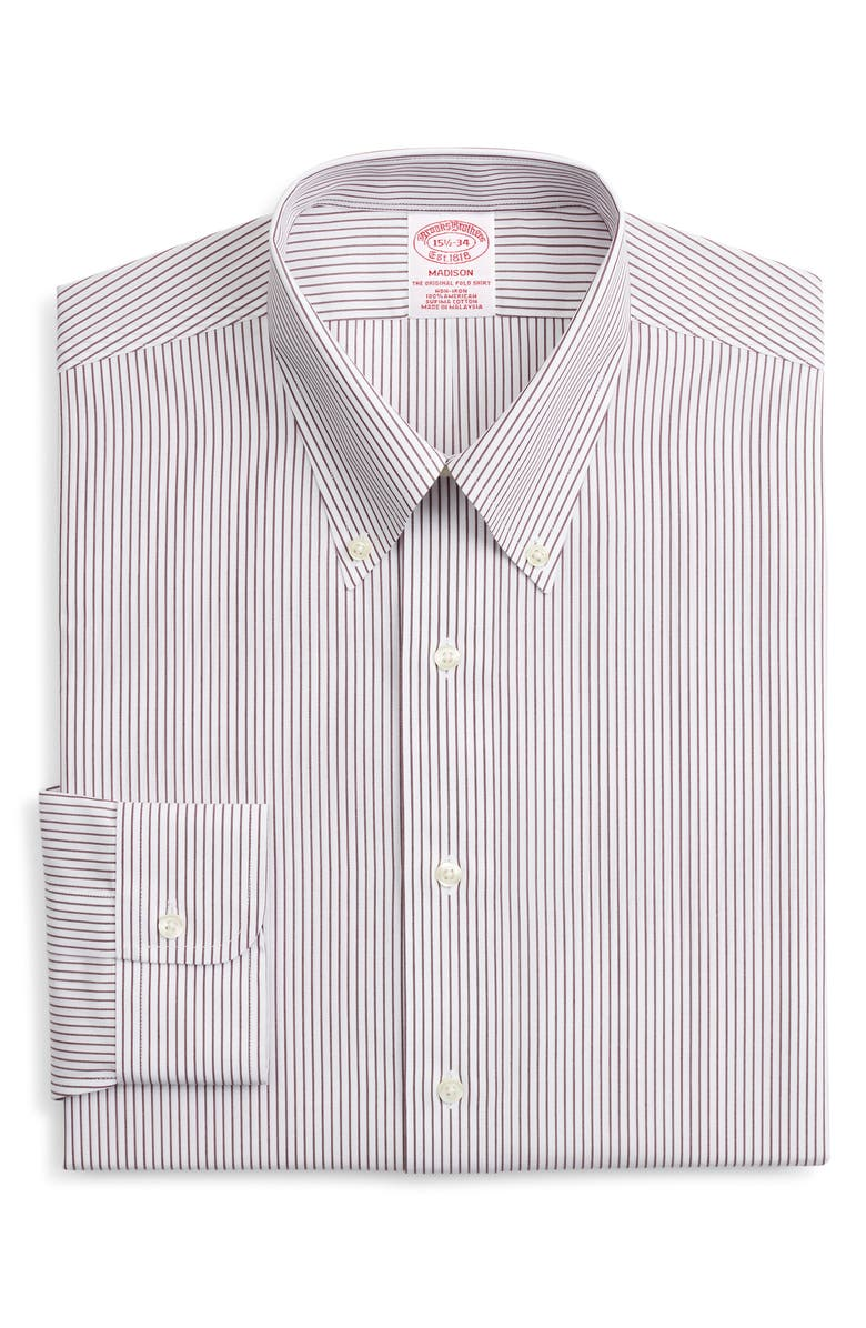 BROOKS BROTHERS Madison Classic Fit Non-Iron Stripe Dress Shirt, Main, color, STPFIG