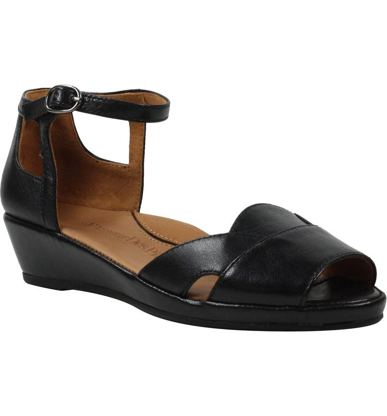 L'AMOUR DES PIEDS Betterton Sandal, Main, color, BLACK LEATHER