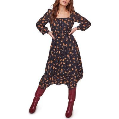 Astr The Label Padma Floral Square Neck Long Sleeve Dress, Black