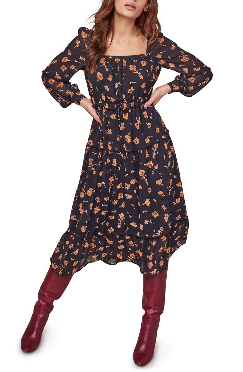 ASTR THE LABEL Padma Floral Square Neck Long Sleeve Dress, Main, color, BLACK AMBER FLORAL