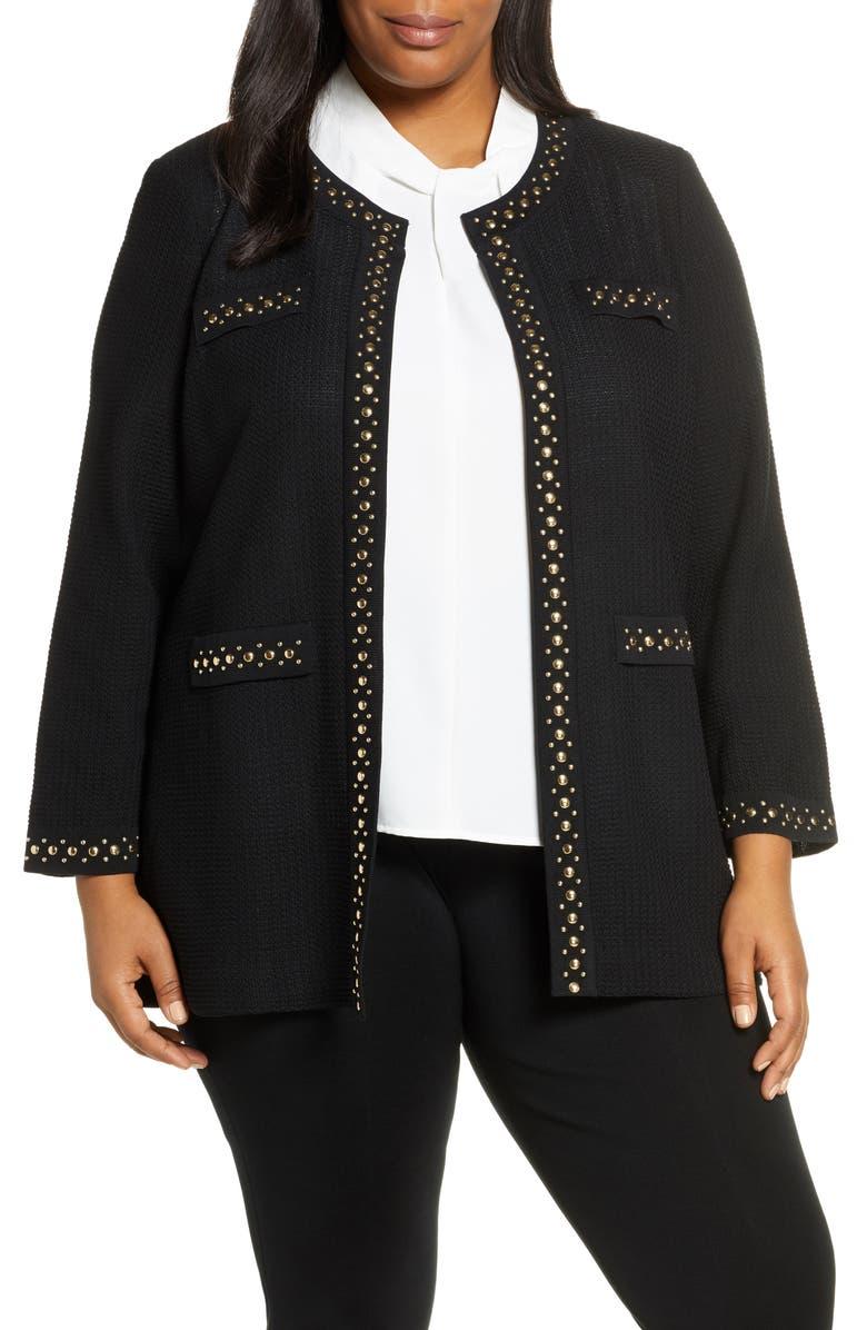 MING WANG Studded Trim Knit Jacket, Main, color, 001