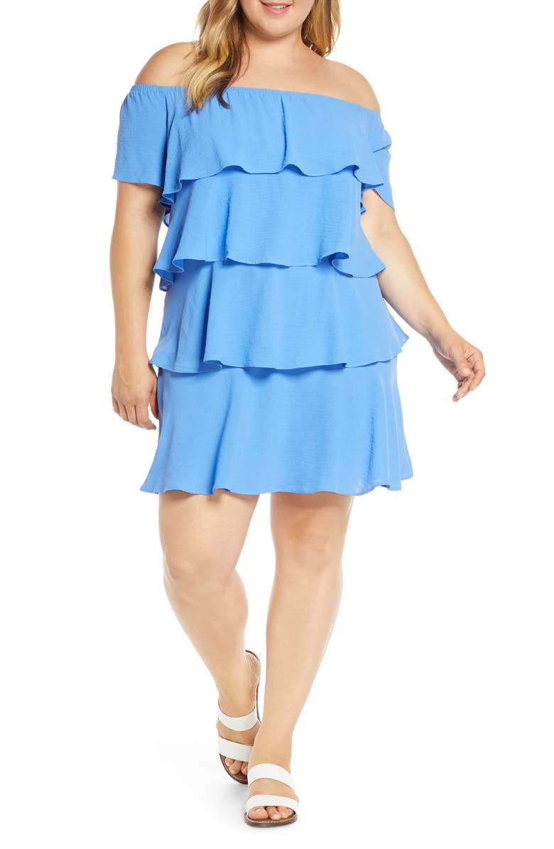 GIBSON x Hot Summer Nights Natalie Off The Shoulder Ruffle Dress, Main, color, CORNFLOWER