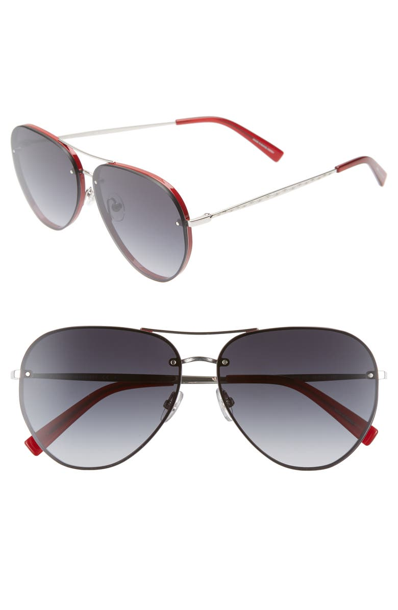 REBECCA MINKOFF Gloria2 59mm Aviator Sunglasses, Main, color, RED/ SILVER