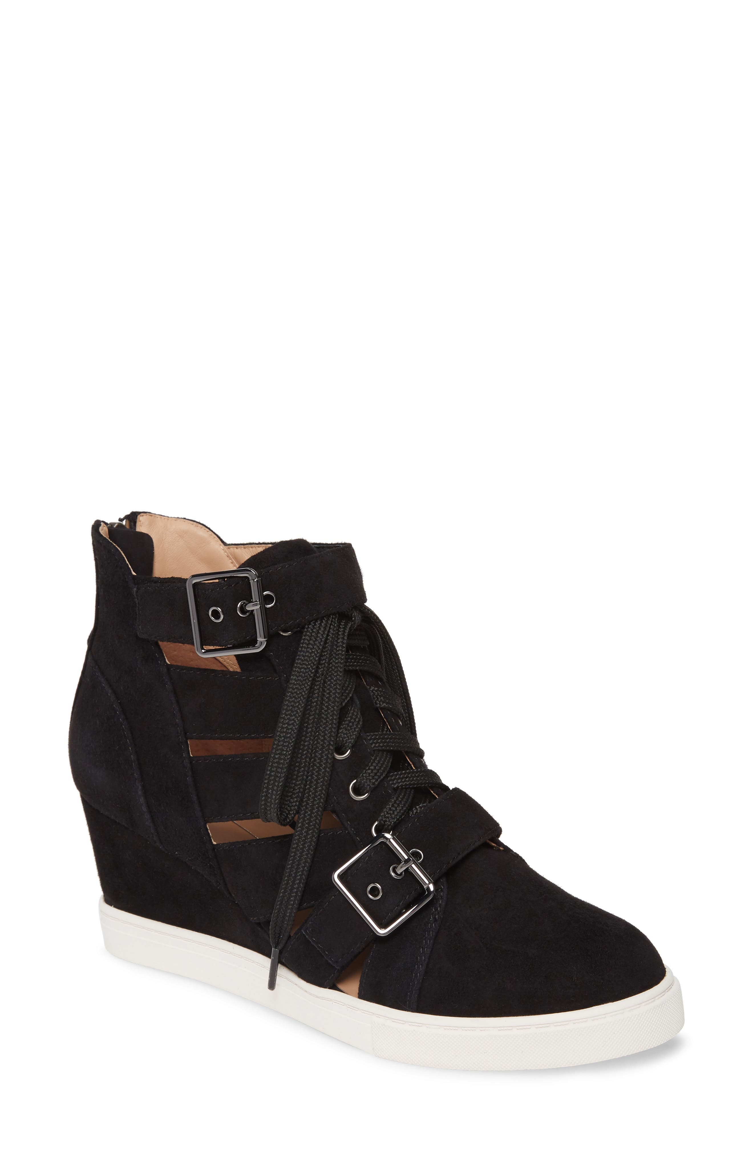 Linea Paolo Fave Cutout Wedge Sneaker, Black