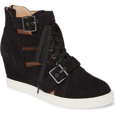 Linea Paolo Fave Cutout Wedge Sneaker- Black