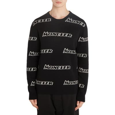 Moncler Allover Logo Wool & Cashmere Sweater, Black