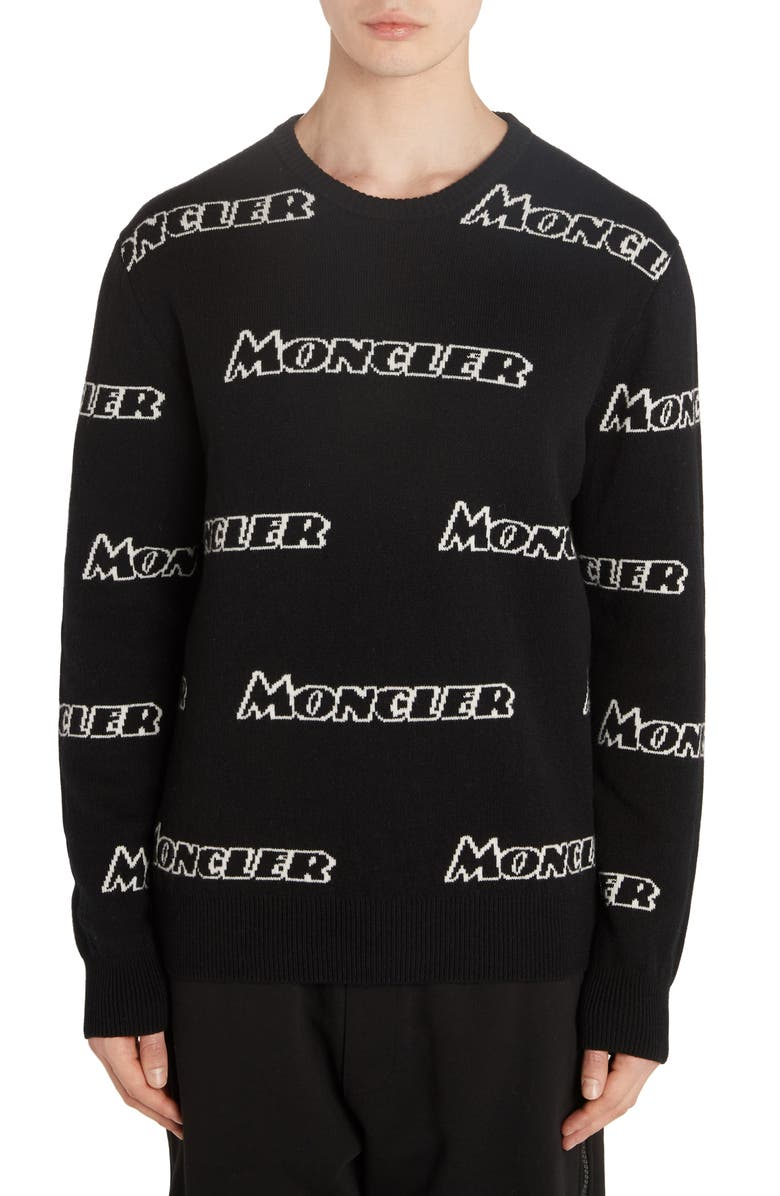 MONCLER Allover Logo Wool & Cashmere Sweater, Main, color, BLACK