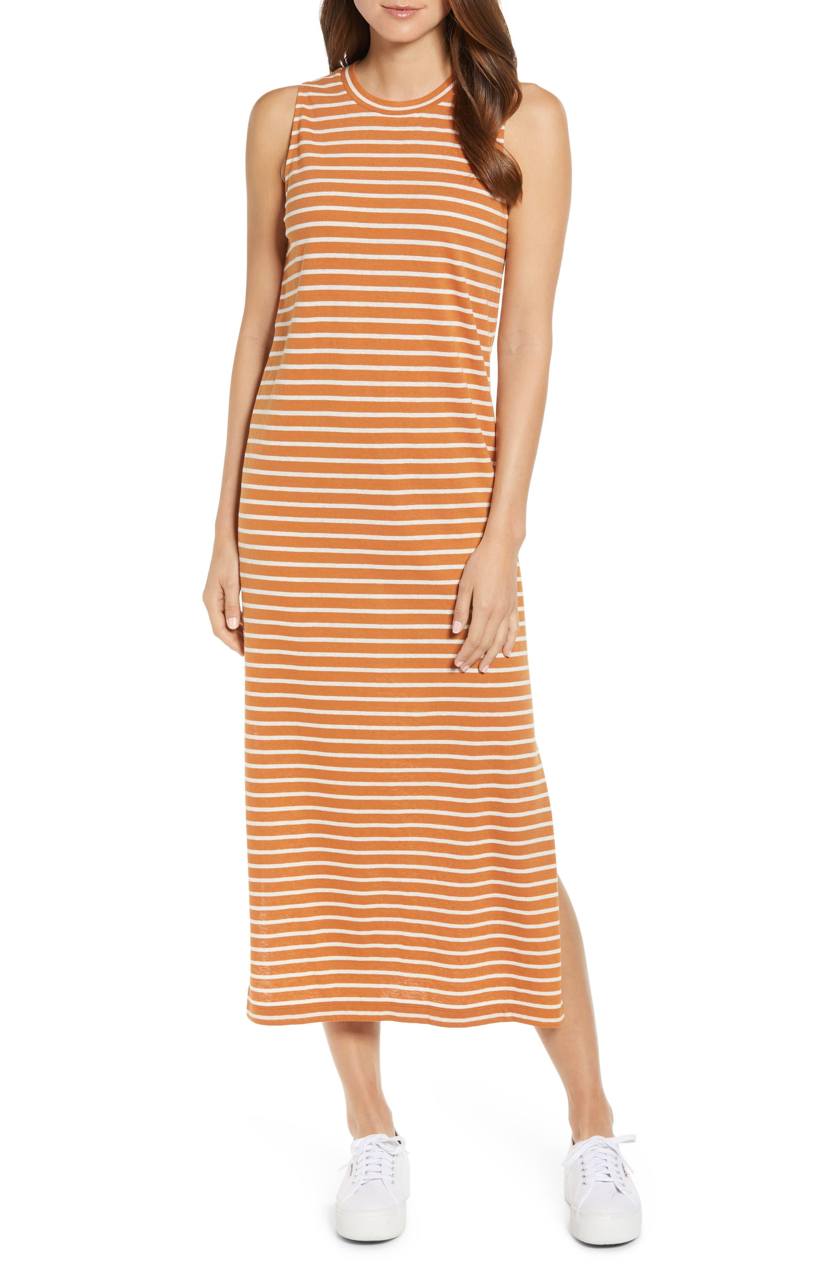 Lou & Grey Ellie Stripe Softserve Midi Dress, Brown
