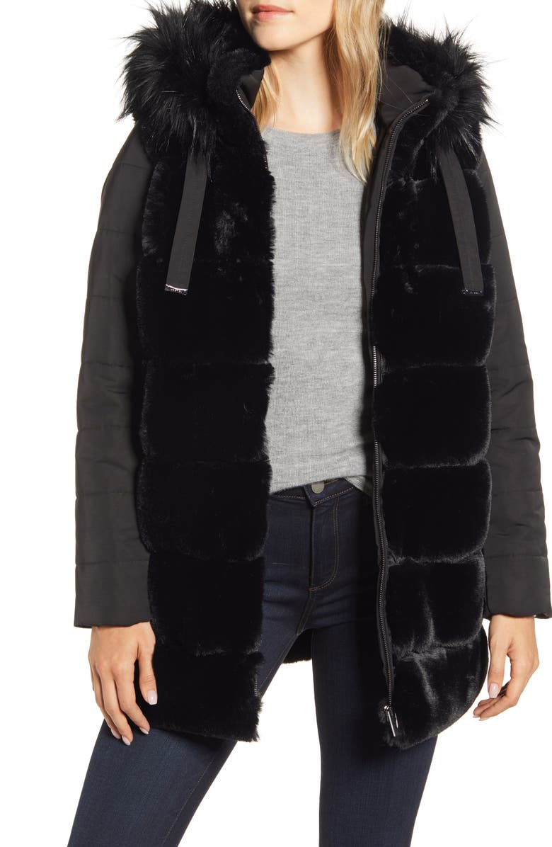 VIA SPIGA Faux Fur Hooded Puffer Jacket, Main, color, BLACK
