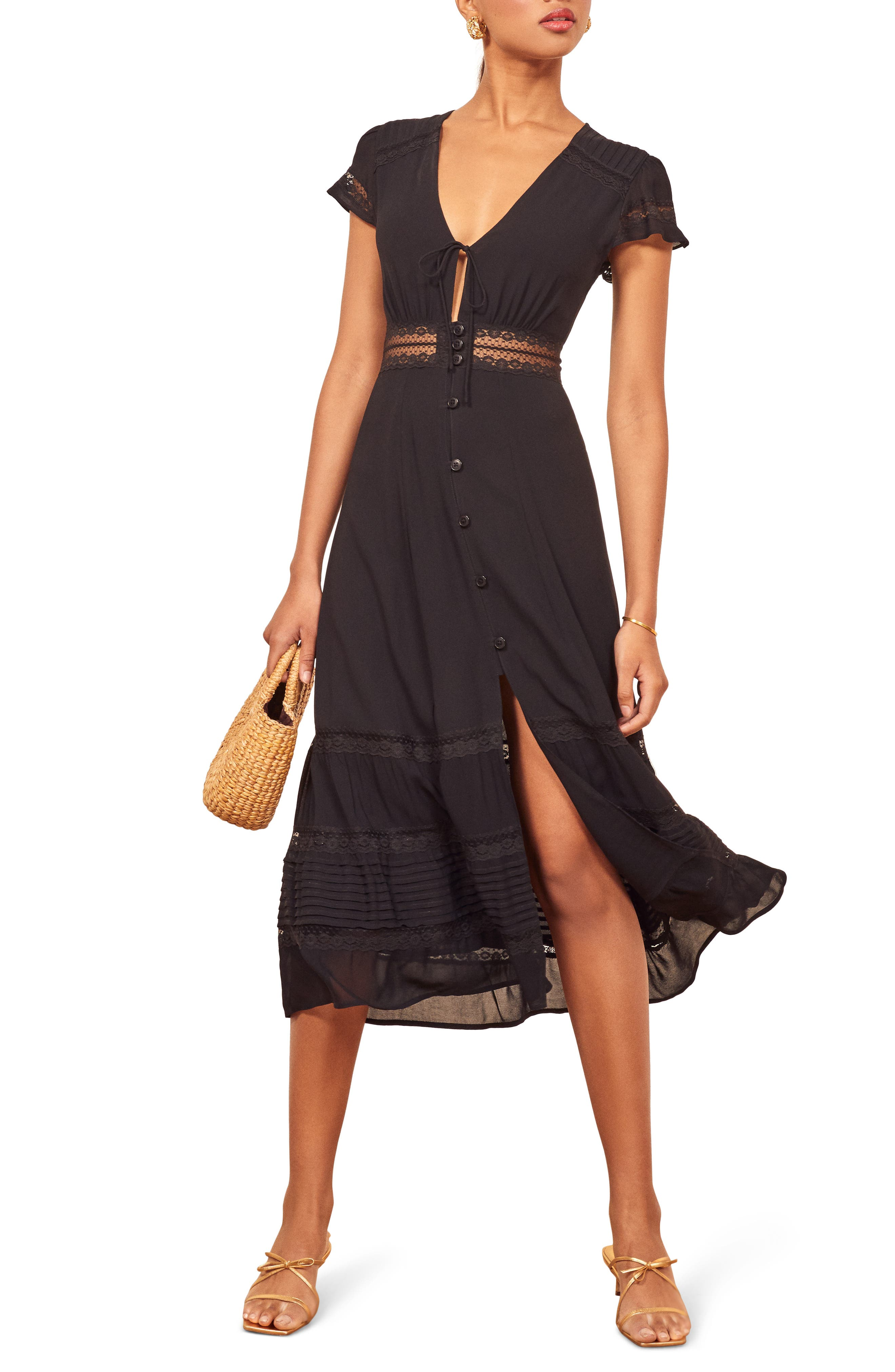 Reformation Garland Lace Trim Midi Dress, Black