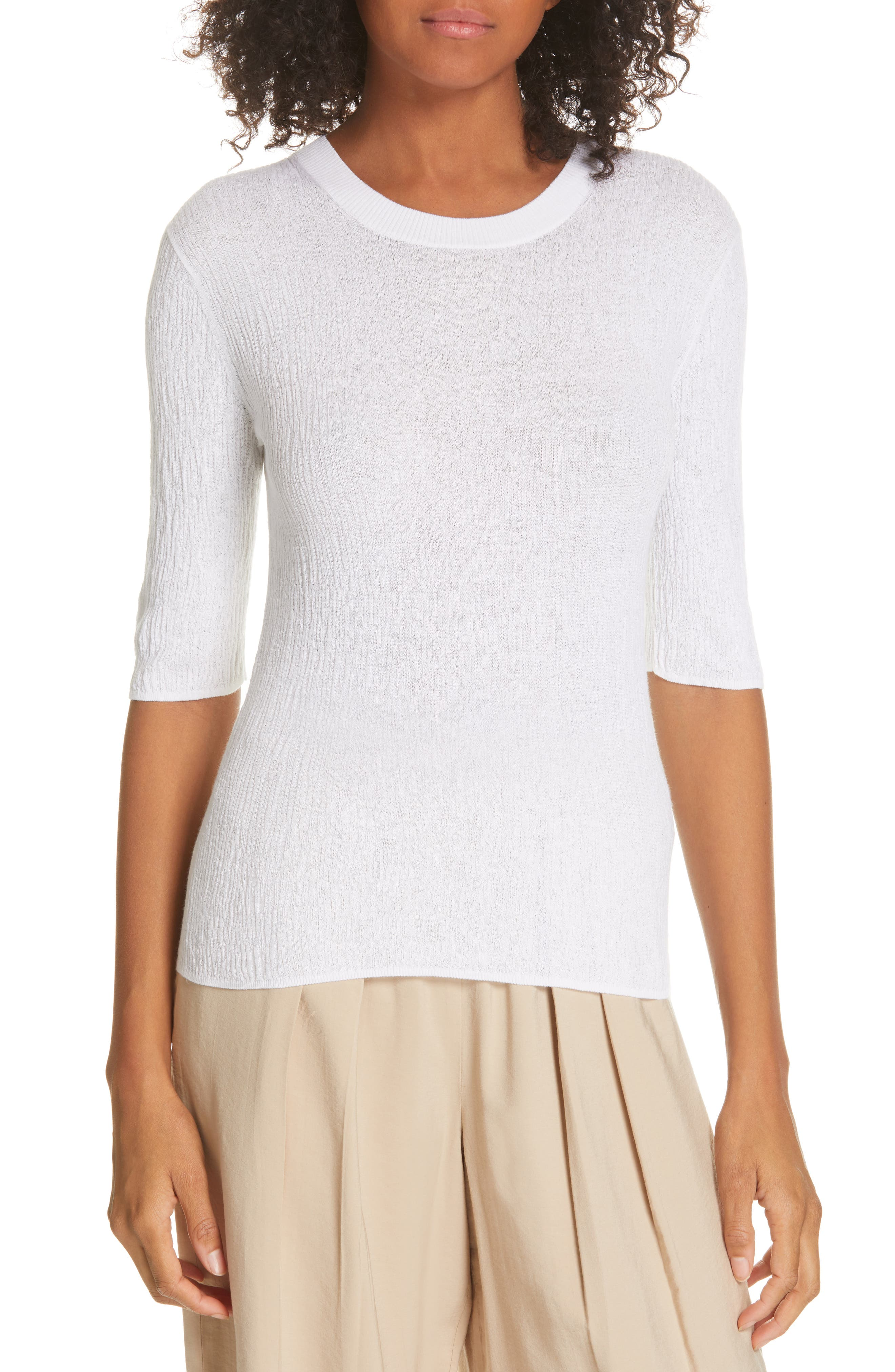 Broomstick Pleat Cotton Top, Main, color, OPTIC WHITE