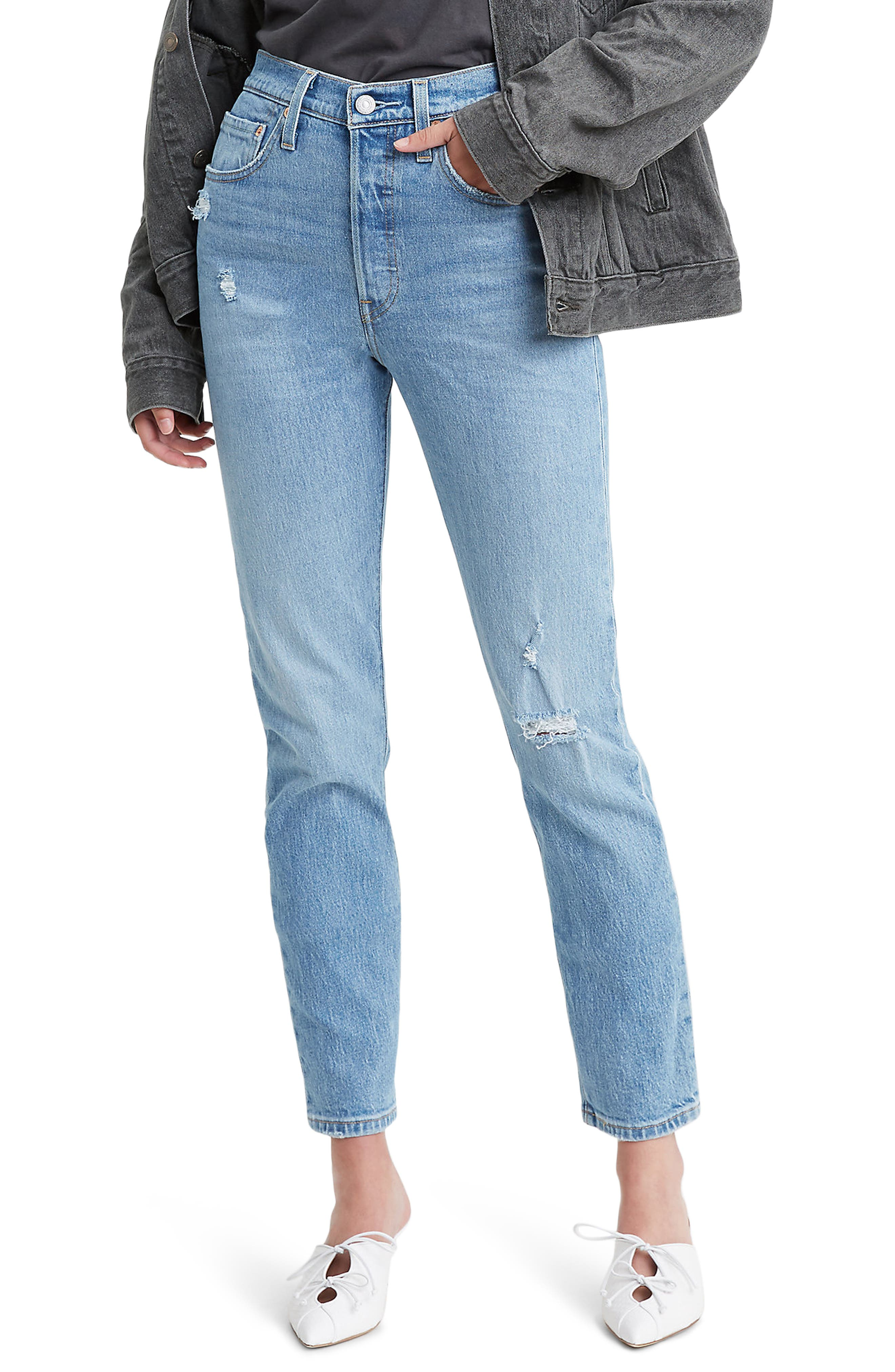 Women's Levi's 501 High Waist Ripped Ankle Skinny Jeans,  33 x 28 - Blue