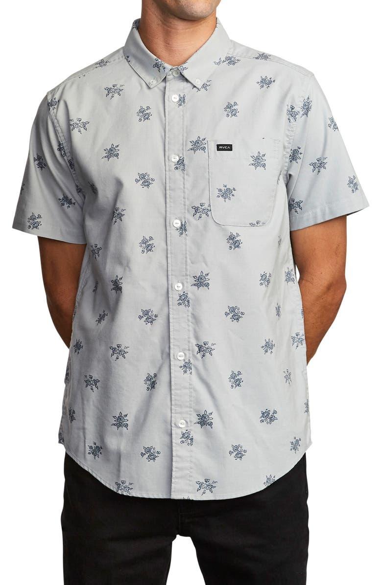 RVCA That'll Do Short Sleeve Button-Down Shirt, Main, color, CEMENT