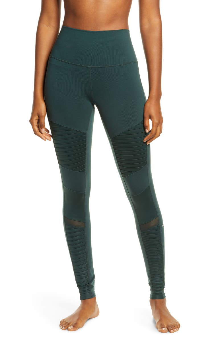 ALO High Waist Moto Leggings, Main, color, FOREST/ FOREST GLOSSY