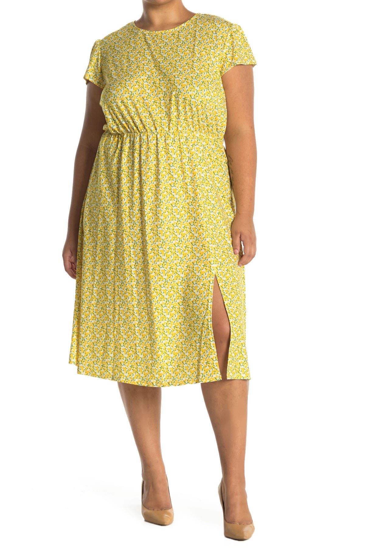 Image of TASH + SOPHIE Mock Neck Shirred Cap Sleeve Dress