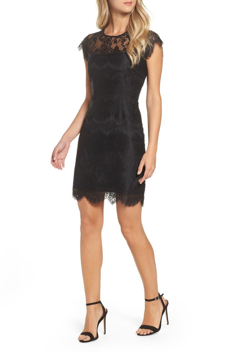 BB DAKOTA Jayce Lace Sheath Cocktail Dress, Main, color, BLACK