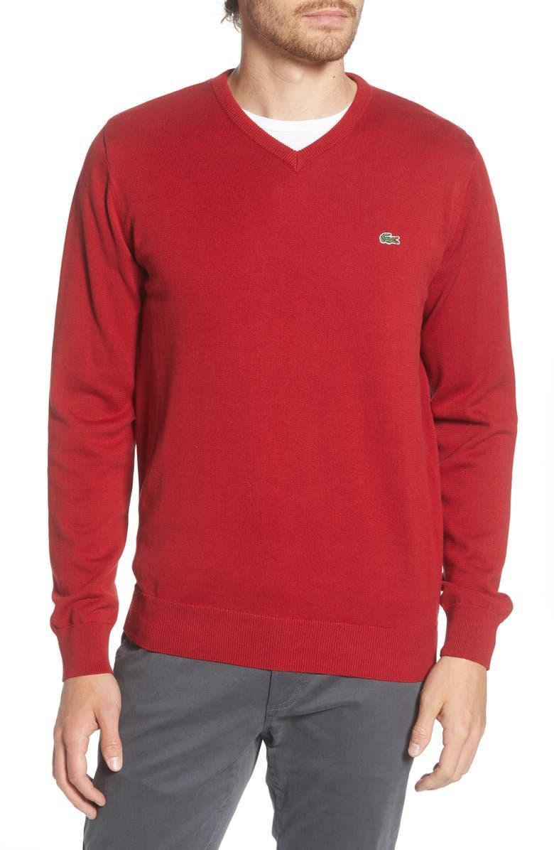 LACOSTE Regular Fit V-Neck Sweater, Main, color, 601