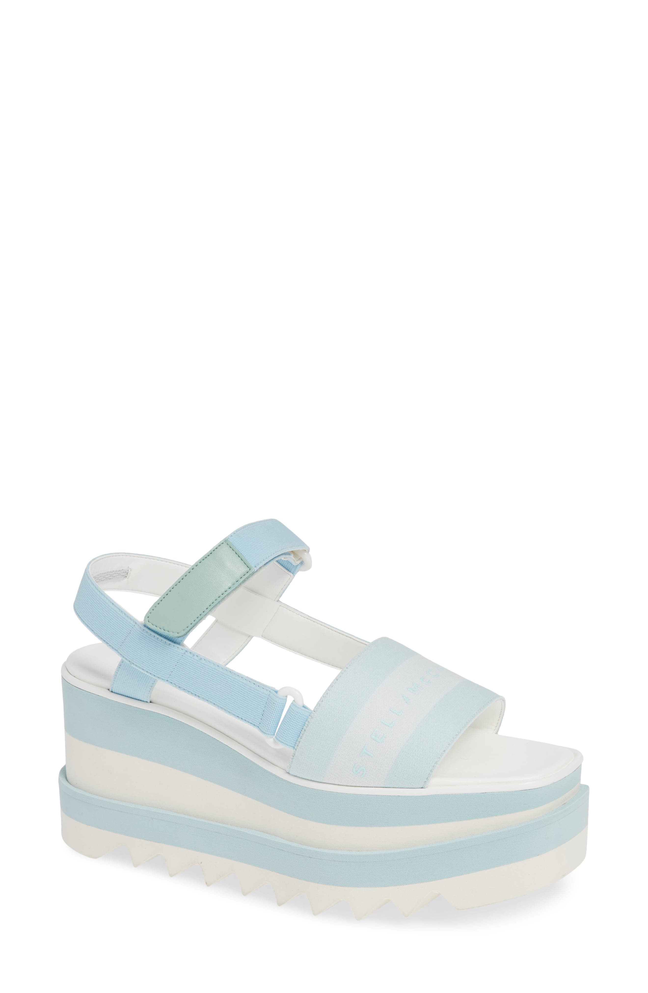 Stella Mccartney Stripe Logo Platform Sandal - Blue
