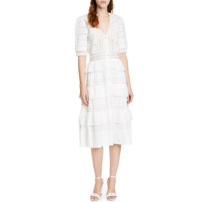 Loveshackfancy Rebecca Tiered Cotton Eyelet Midi Dress, White