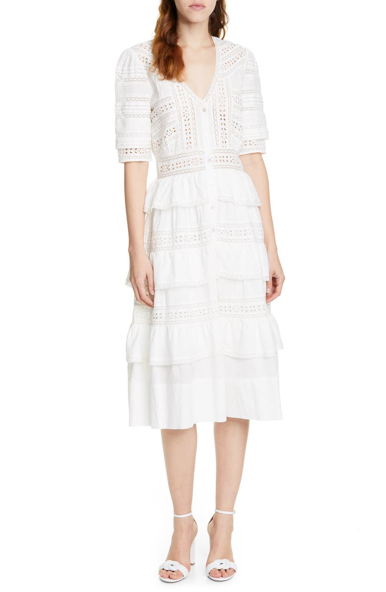 LOVESHACKFANCY Rebecca Tiered Cotton Eyelet Midi Dress, Main, color, ANTIQUE WHITE