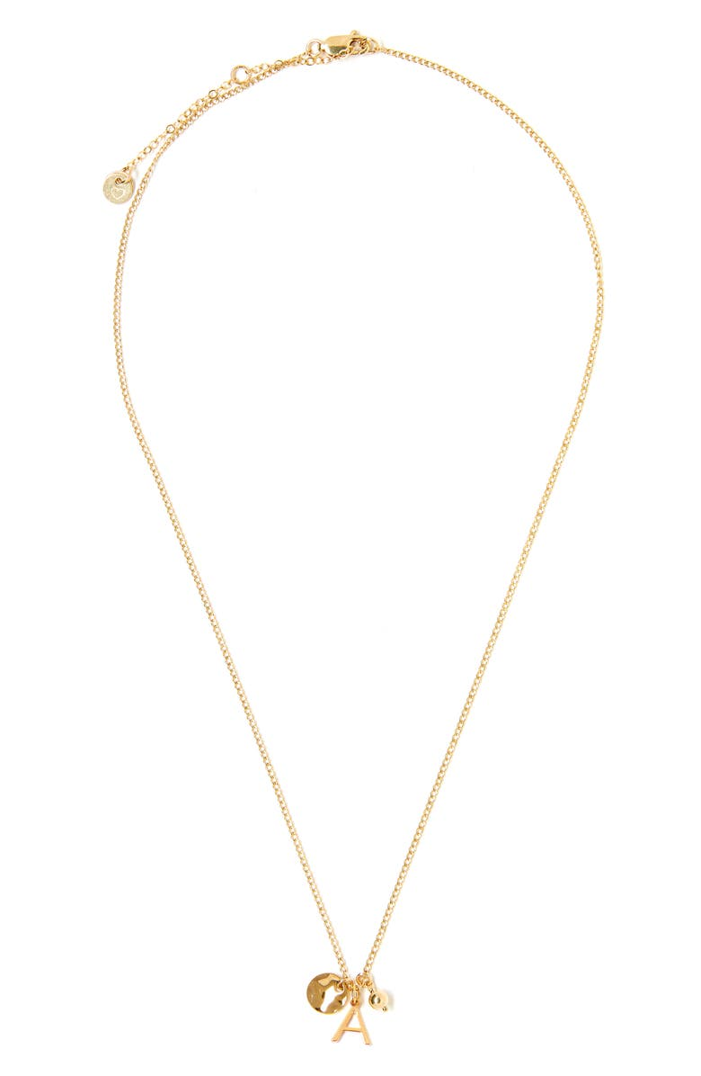 TESS + TRICIA Cluster Initial Necklace, Main, color, GOLD A