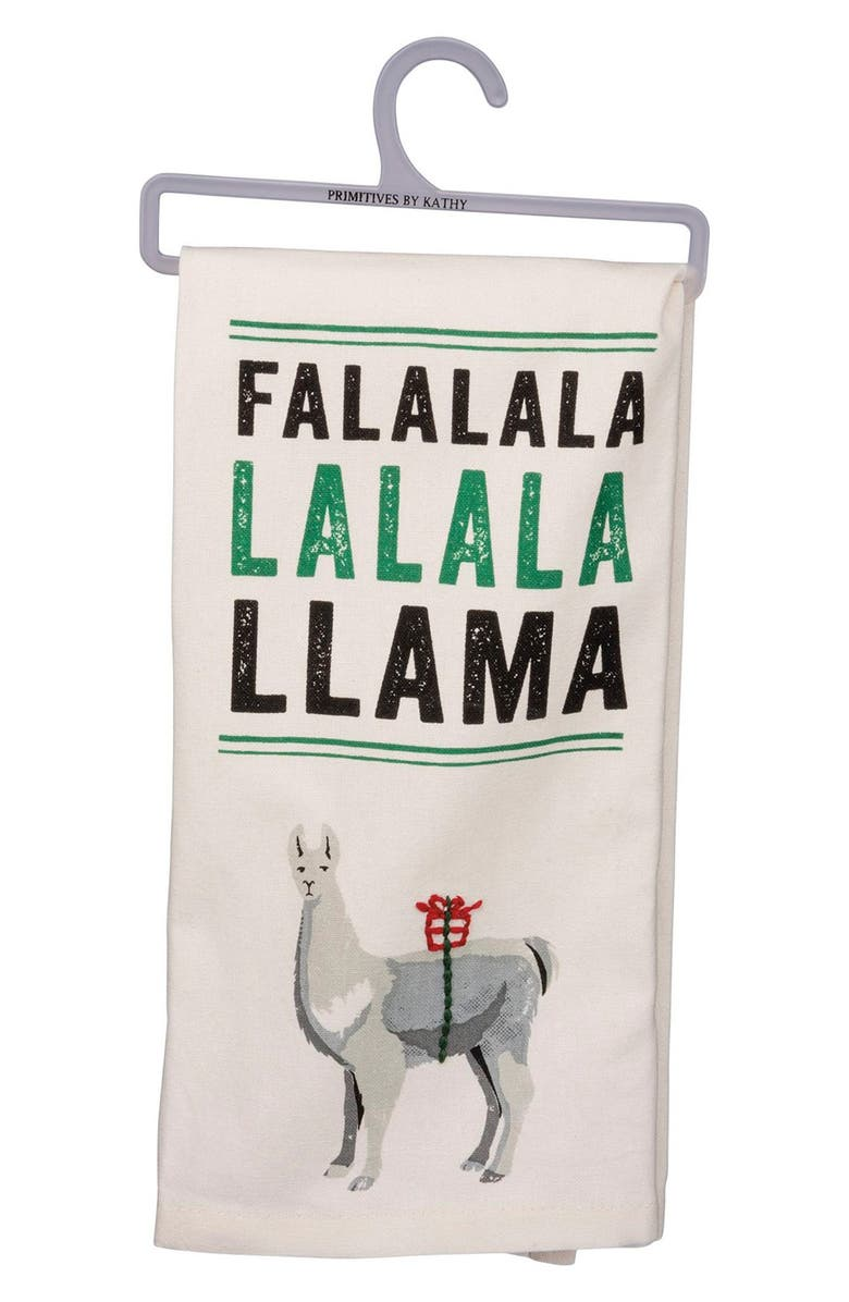 PRIMITIVES BY KATHY Fa La La La Llama Dish Towel, Main, color, WHITE/ GREEN