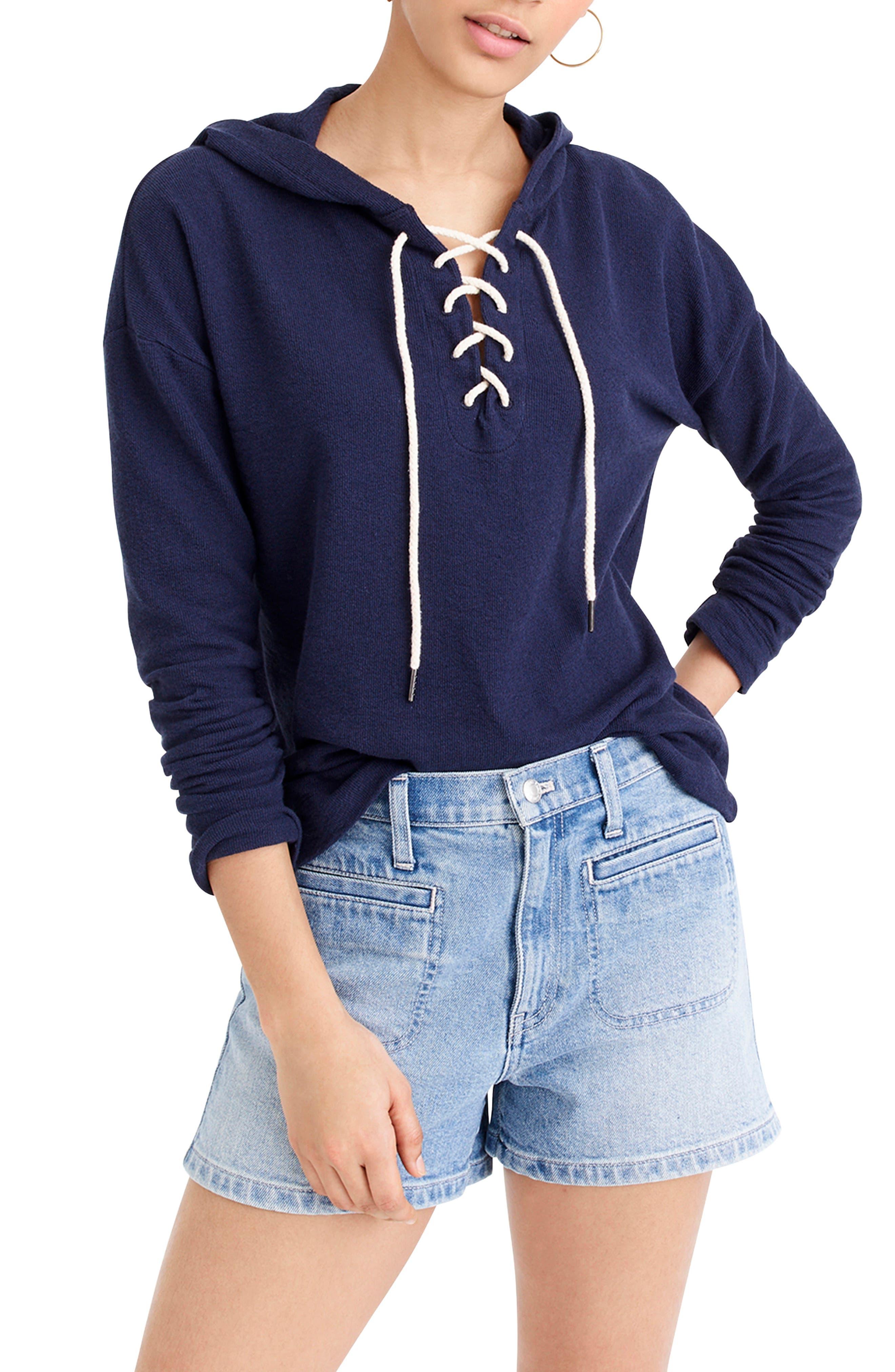 Plus Size J.crew Lace-Up Swing Hoodie Pullover Sweatshirt, Size - Blue