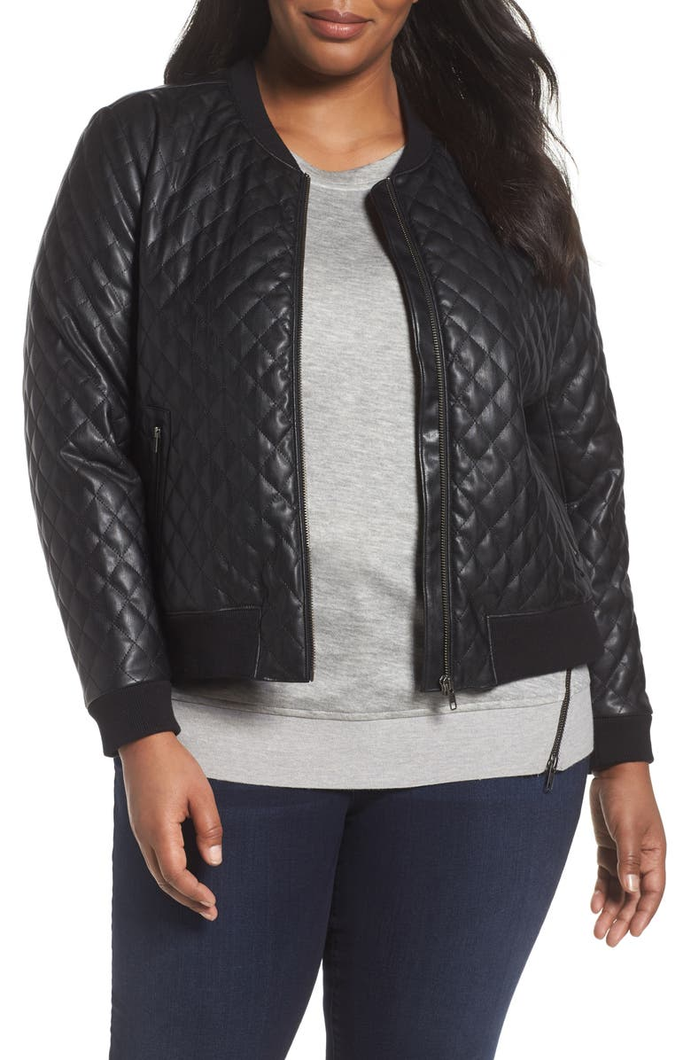 SEJOUR Quilted Faux Leather Bomber Jacket, Main, color, 001