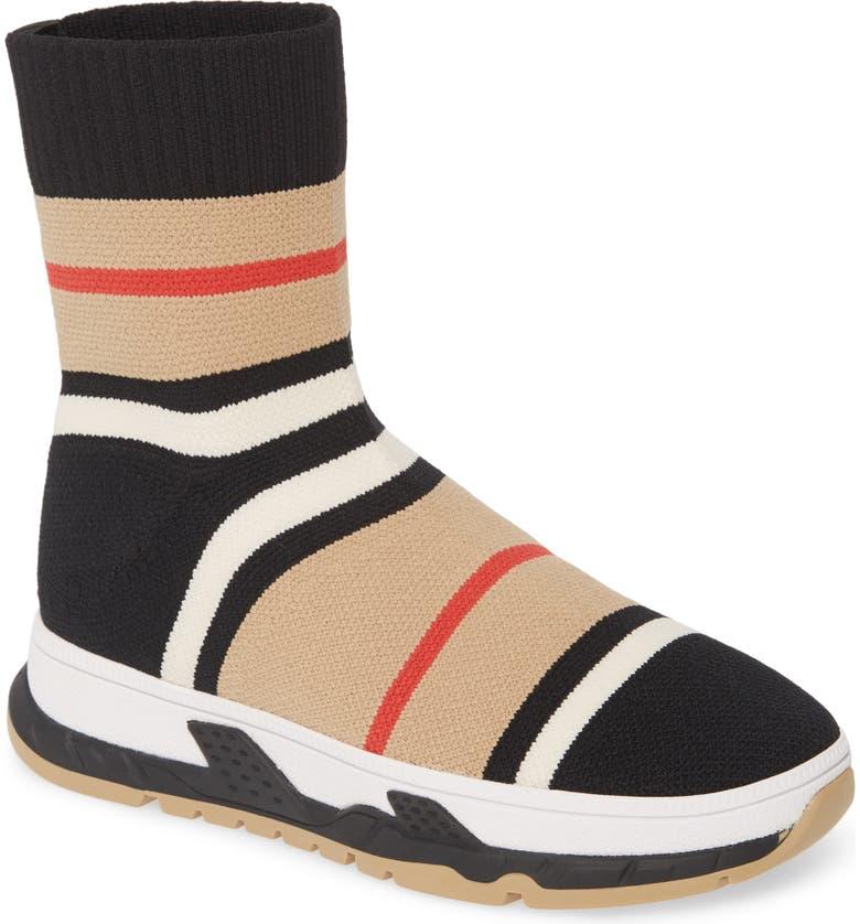BURBERRY Stripe Sock Knit Sneaker, Main, color, BLACK