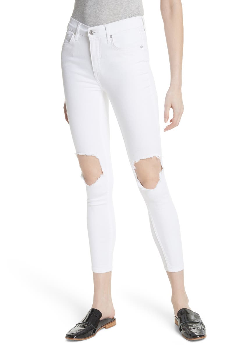 FREE PEOPLE We the Free by Free People High Waist Busted Knee Skinny Jeans, Main, color, WHITE