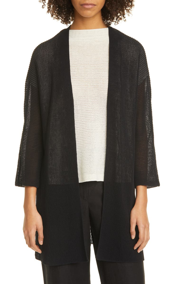 EILEEN FISHER Open Front Organic Cotton Long Cardigan, Main, color, 001