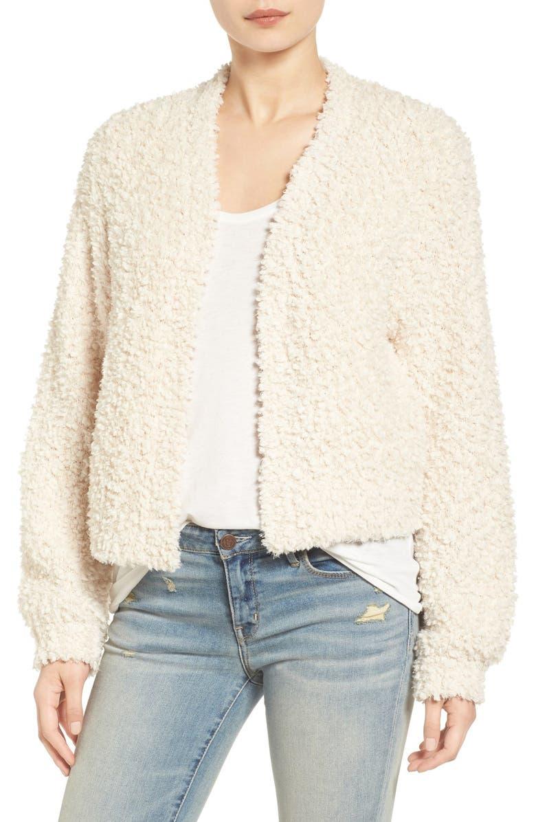 HINGE Open Crop Fuzzy Cardigan, Main, color, 250