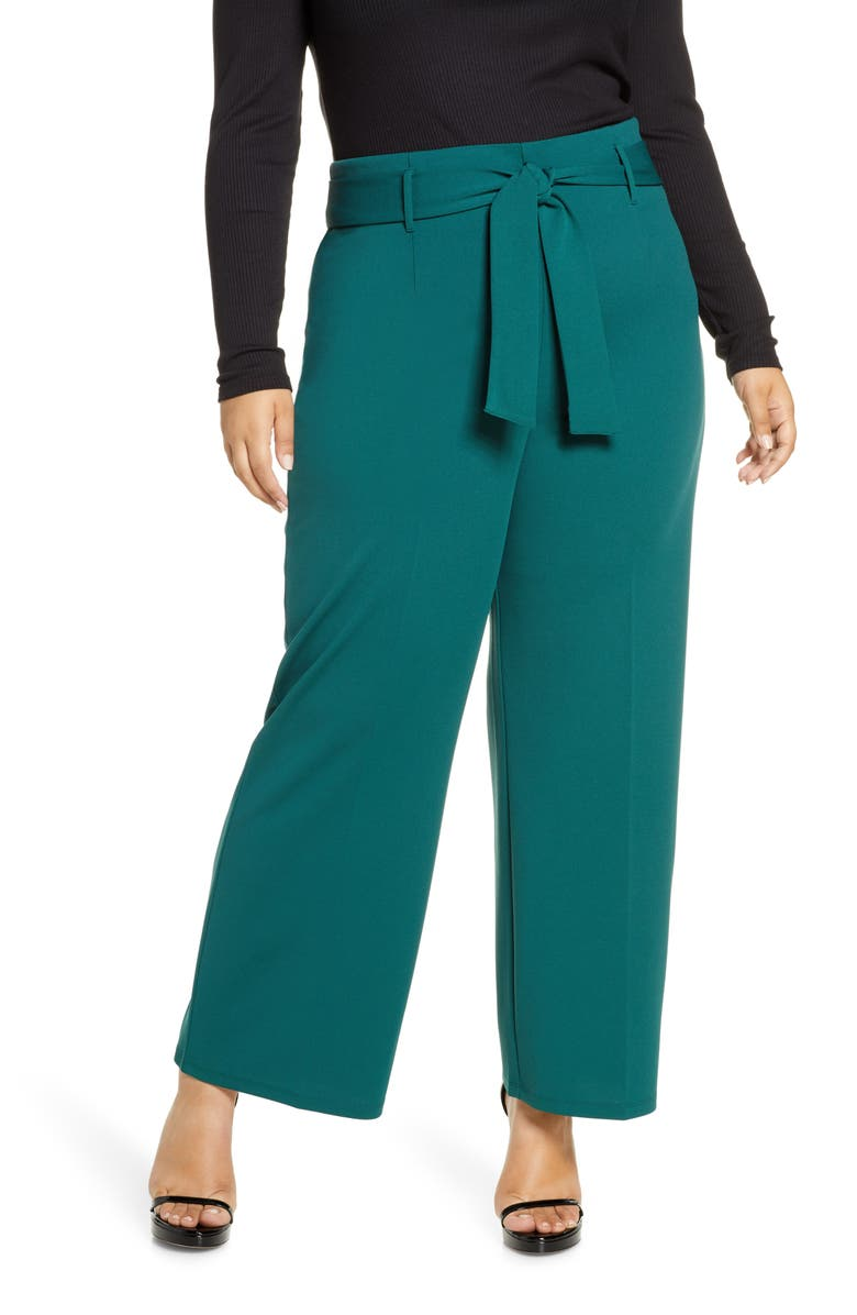 LEITH High Waist Belted Pants, Main, color, GREEN BUG