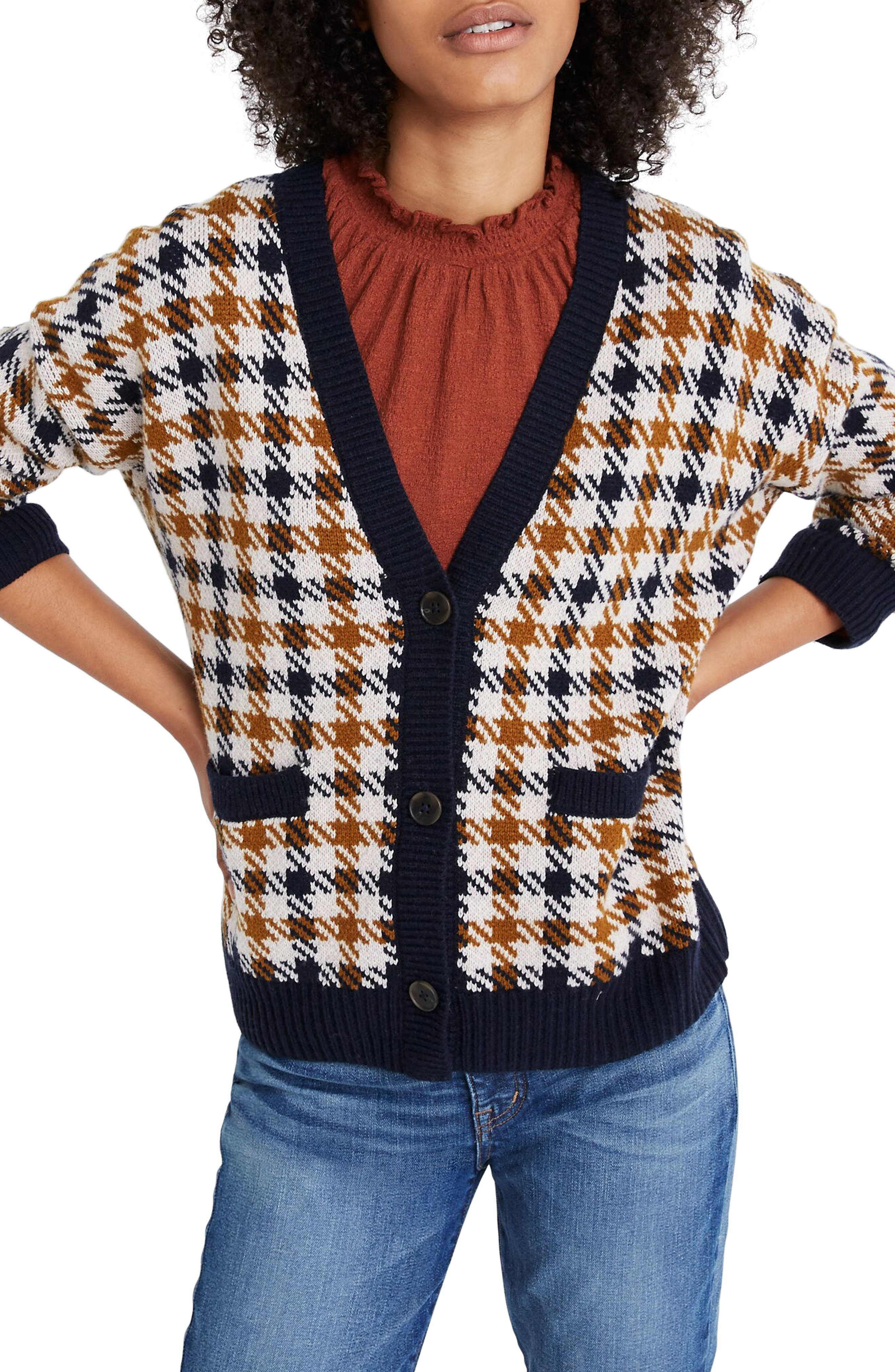 Vintage Sweaters: Cable Knit, Fair Isle Cardigans & Sweaters Womens Madewell Plaid Belgrade Shrunken Cardigan Sweater Size XX-Large - Blue $110.00 AT vintagedancer.com