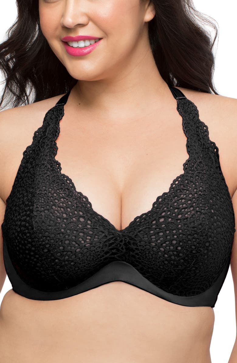 CURVY COUTURE Gorgeous Crochet Lace Bra, Main, color, 001