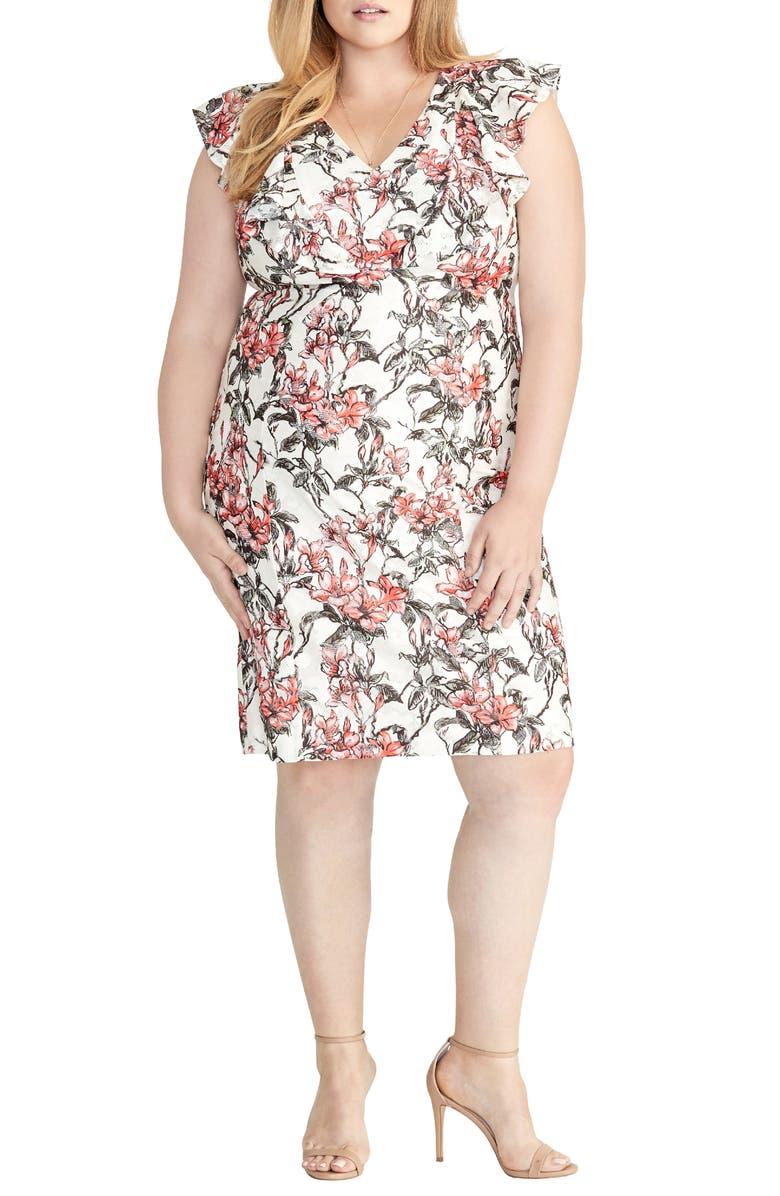 RACHEL RACHEL ROY Ruffled Floral Lace Dress, Main, color, FIRE COMBO