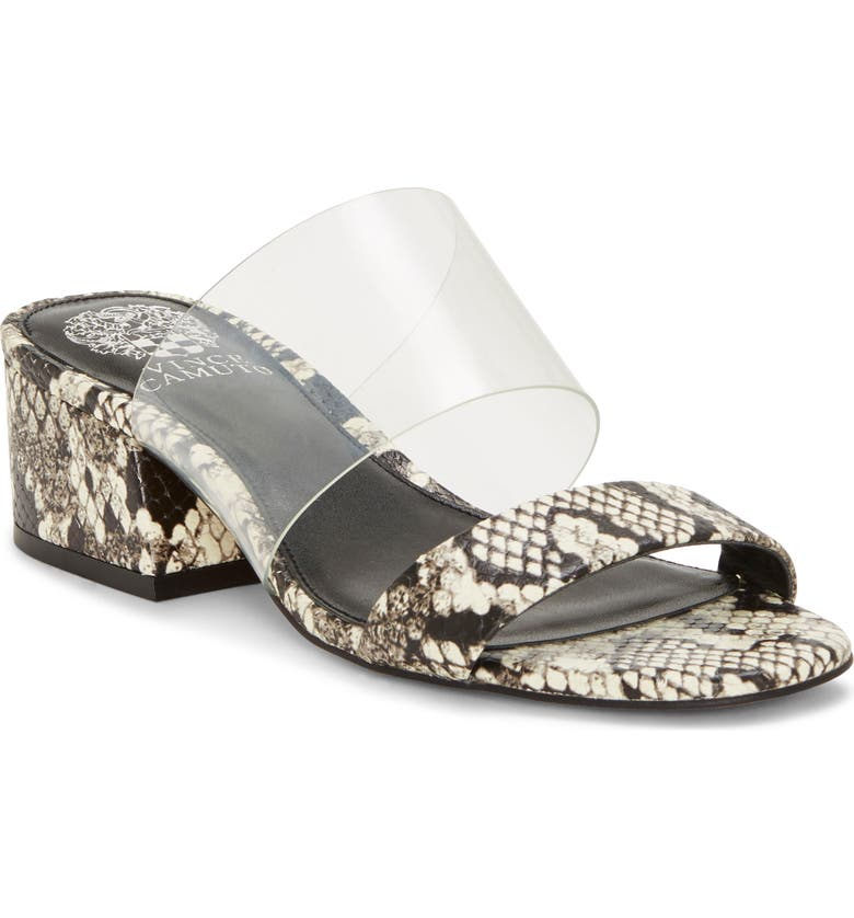 VINCE CAMUTO Caveera Slide Sandal, Main, color, CLEAR/ BLACK-WHITE