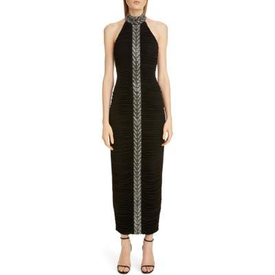 Balmain Embellished Stripe Halter Gown, Black